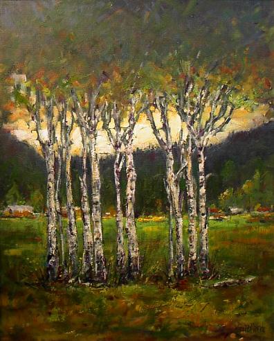 Aspen Grove   Landscape Painting   Kim Pollard   Canadian   Artist   British Columbia   Aspen Trees
