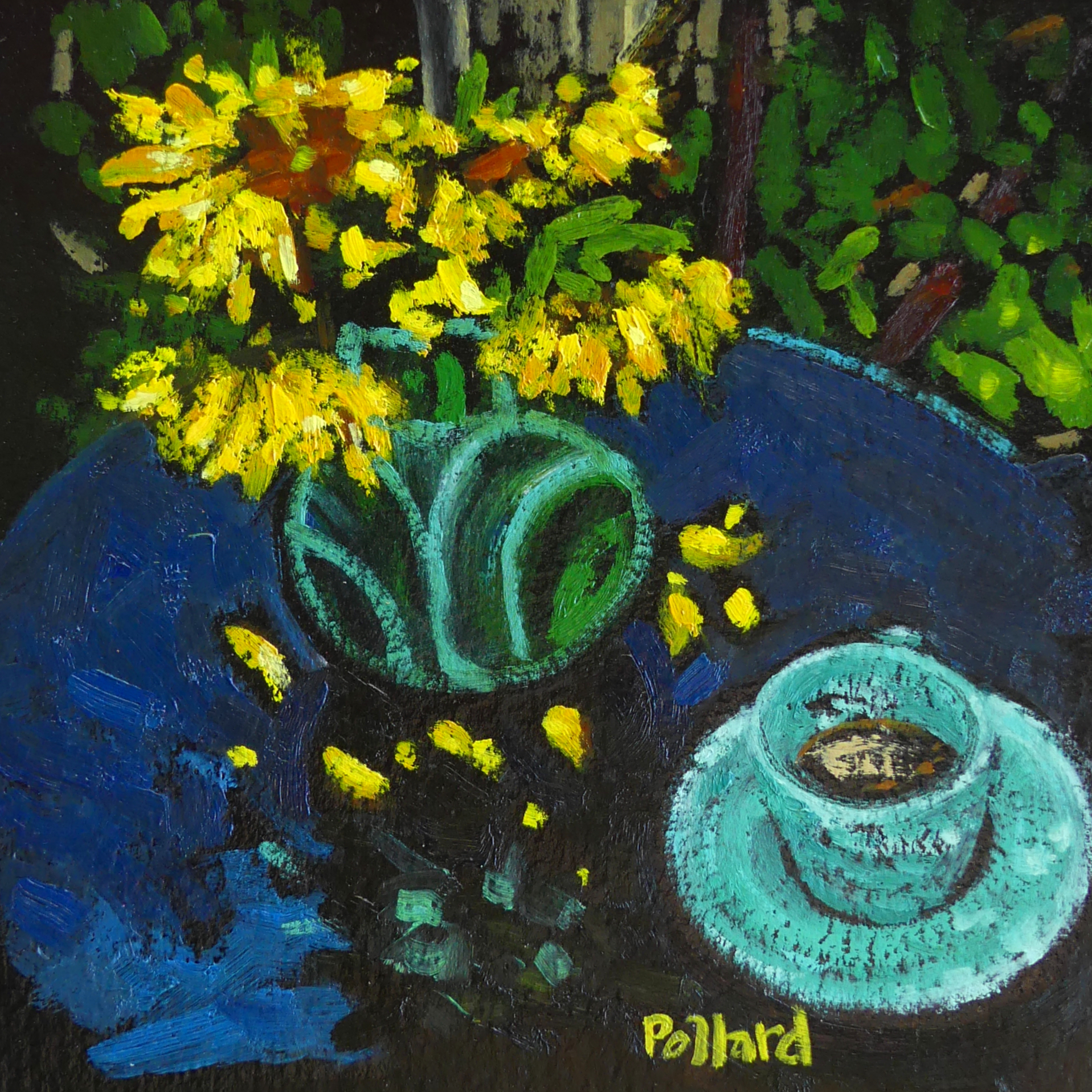 Tea in Penny's Garden 1   Modern Still Life   Artist   Painter   Kim Pollard   Canadian Artist