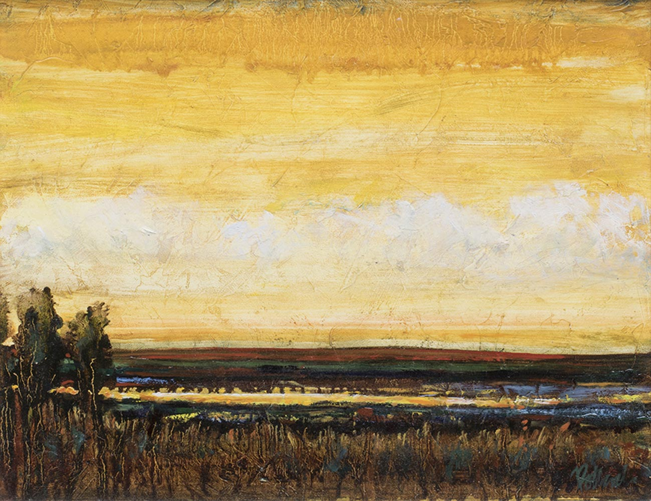 Yellow Sky at Night | Visceral Landscapes | Kim Pollard | Canadian Artist | Abstract Landscapes