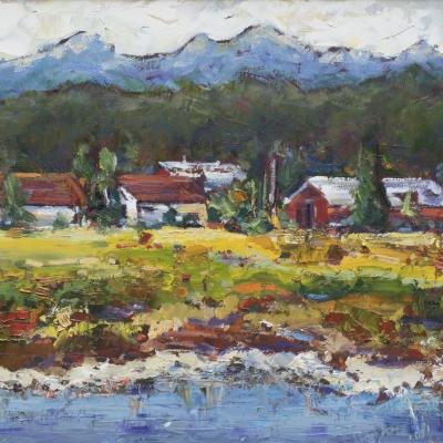 Across The Nicomekl 1 | Landscape Paintings | Kim Pollard | Canadian | Artist | British Columbia | Landscape Painting | Plein Air