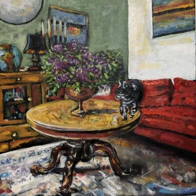 La Chatte et Les Lilas   Modern Still Life   Artist   Painter   Kim Pollard   Canada