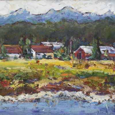 across the nicomekl 1 | Landscapes of British Columbia | Artist painter Kim Pollard | Canada | Pacific Northwest