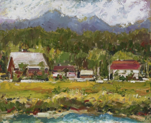 Across The Nicomekl 2 | Landscape Paintings | Kim Pollard | Canadian | Artist | British Columbia | Plein Air