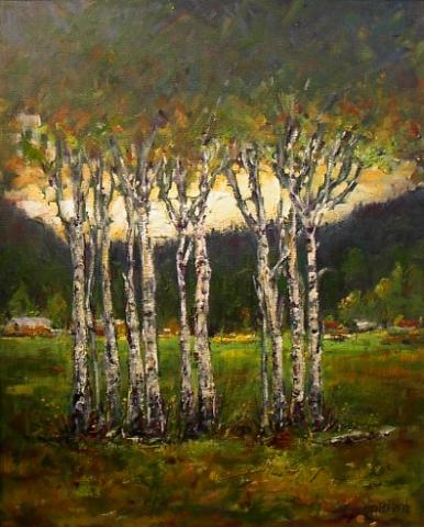 Aspen Grove | Landscape Painting | Kim Pollard | Canadian | Artist | British Columbia | Aspen Trees