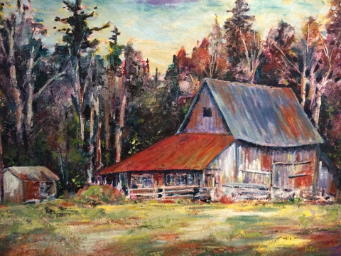 The Old Barn | Landscape Painting | Kim Pollard | Canadian Artist | Oil on Paper